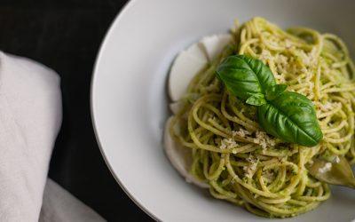 Quinoa Spaghetti* With Cauliflower, Walnuts, Tomatoes and Chickpeas